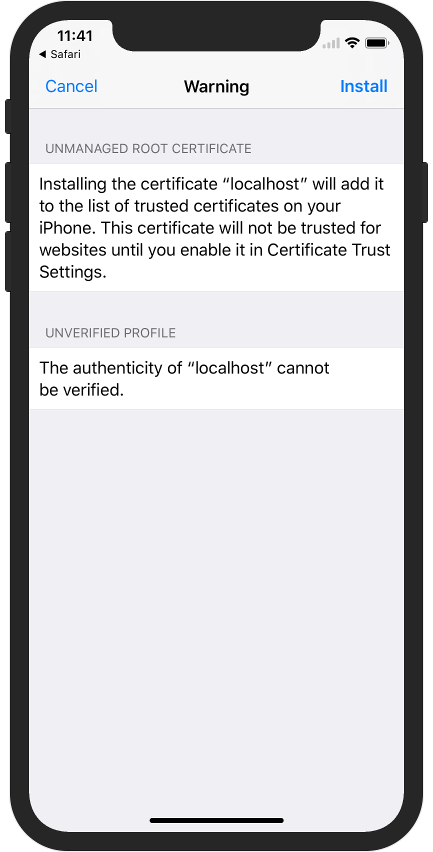 Connecting mobile apps to backends for development with ssl now we need to go to settings general about certificate trust settings and enable full trust for our localhost root certificate xflitez Images