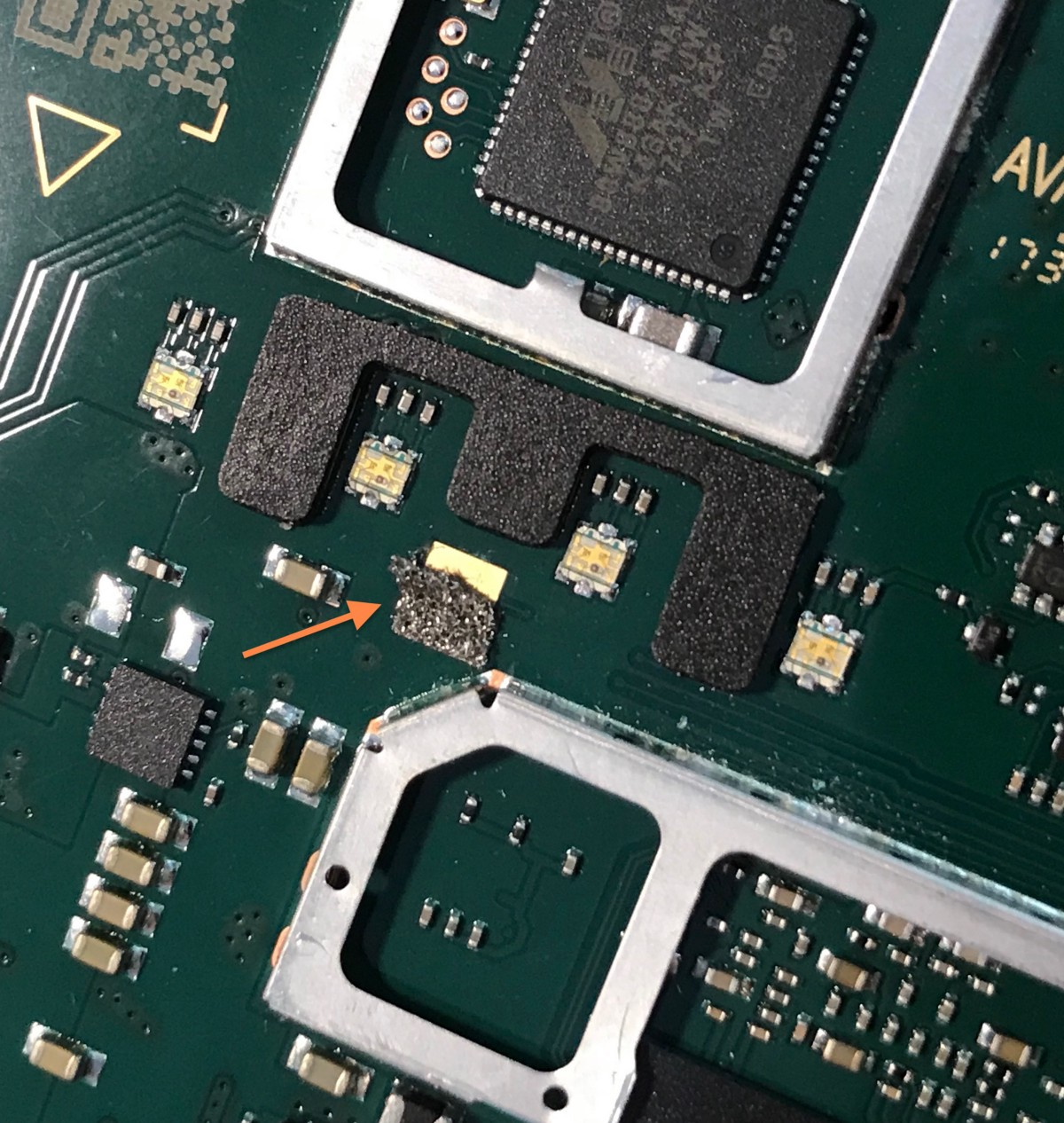 Google Home Mini Teardown Comparison To Echo Dot And Giving Capacitor A Sitting Crookedly On The Circuit Board Base What Could Have Caused Stray Change In Capacitance That Made Sensor Think Finger Was Hovering Above It Triggering Recording