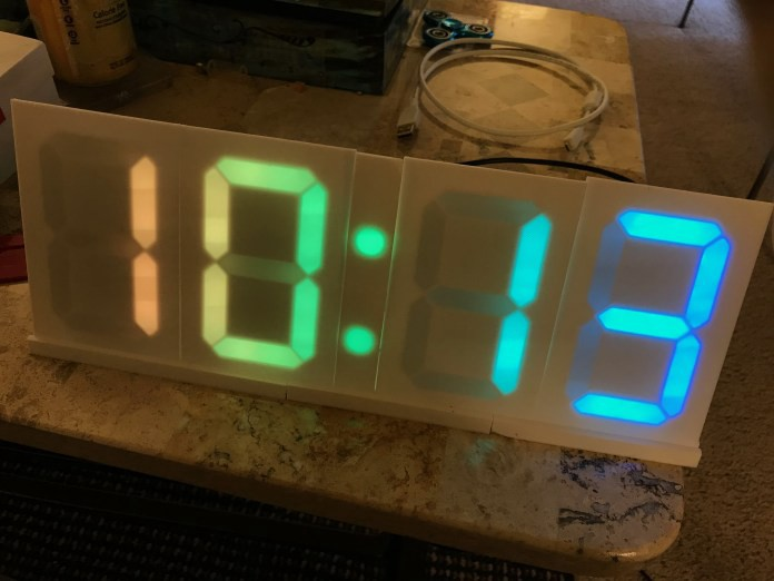 Check the time on a neopixel segment clock hackster