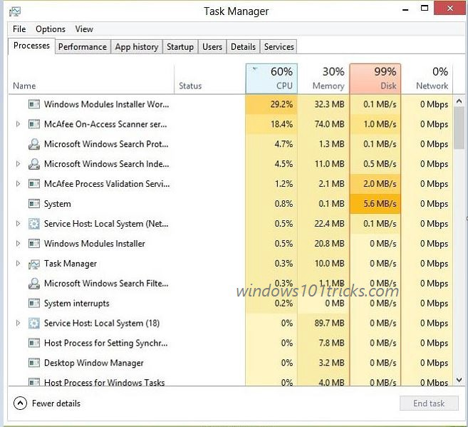 windows 10 high disk usage caused by tiworker.exe