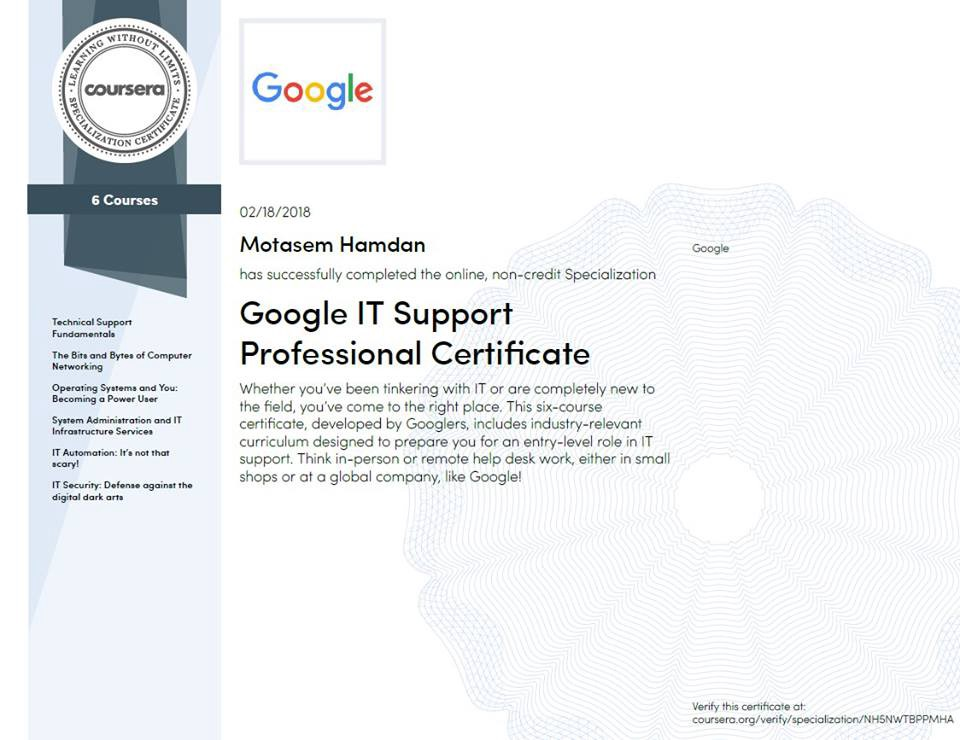 My Review To Google It Support Professional Certificate Taught By