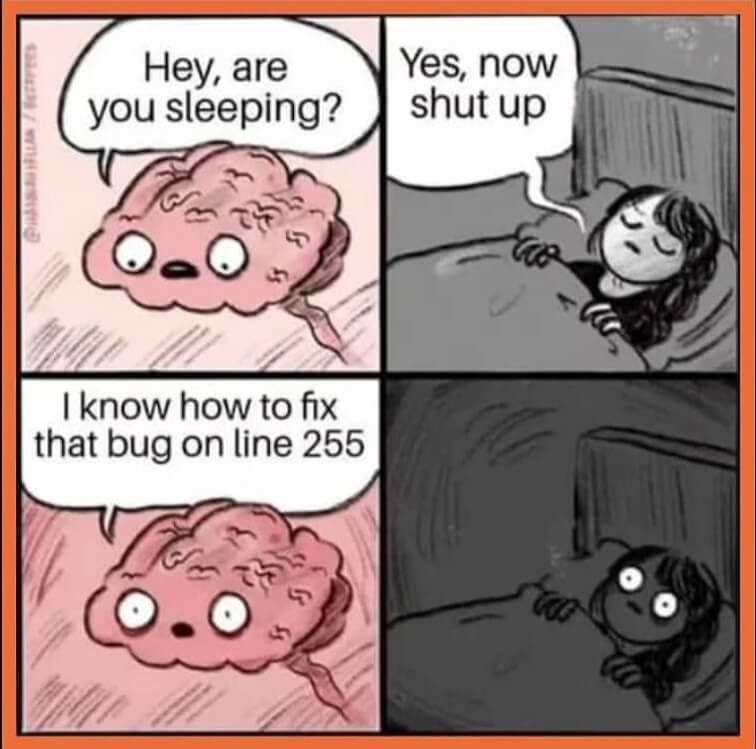 Thinking about bugs in code while sleeping
