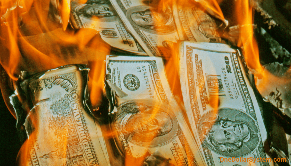 """Burning dollars.  """"The idea is that you could sacrifice something of value, and that would have transcendent utility. That is by no means an unsophisticated idea. In fact, it might be the greatest idea that human beings ever came up with."""" ― Jordan Peterson"""