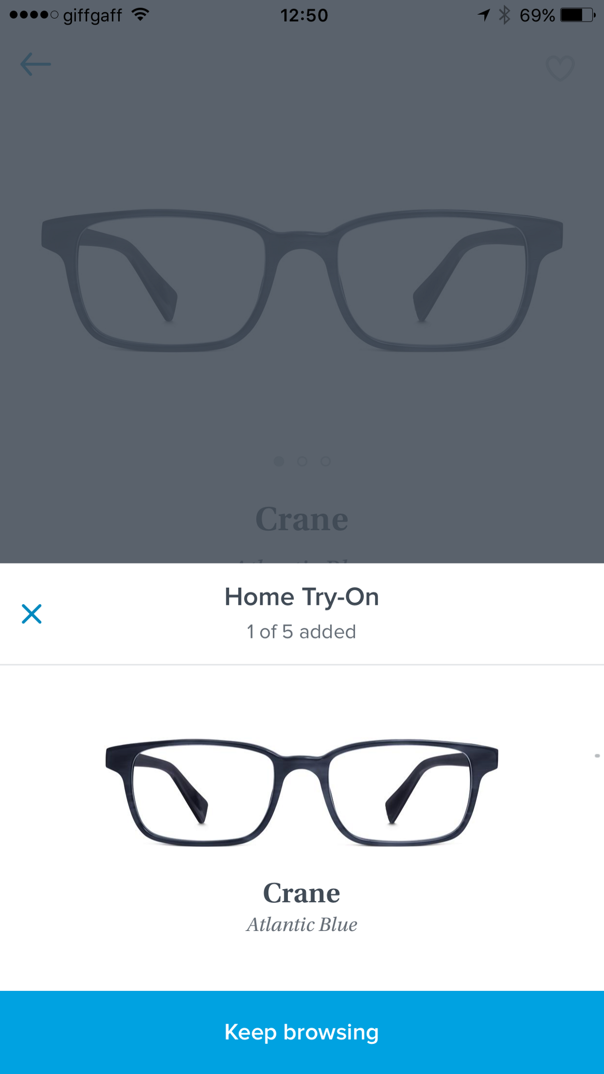 """8ed7c19757 ABOVE  Choosing """"Home Try On"""" frames in Warby Parker s iPhone app."""