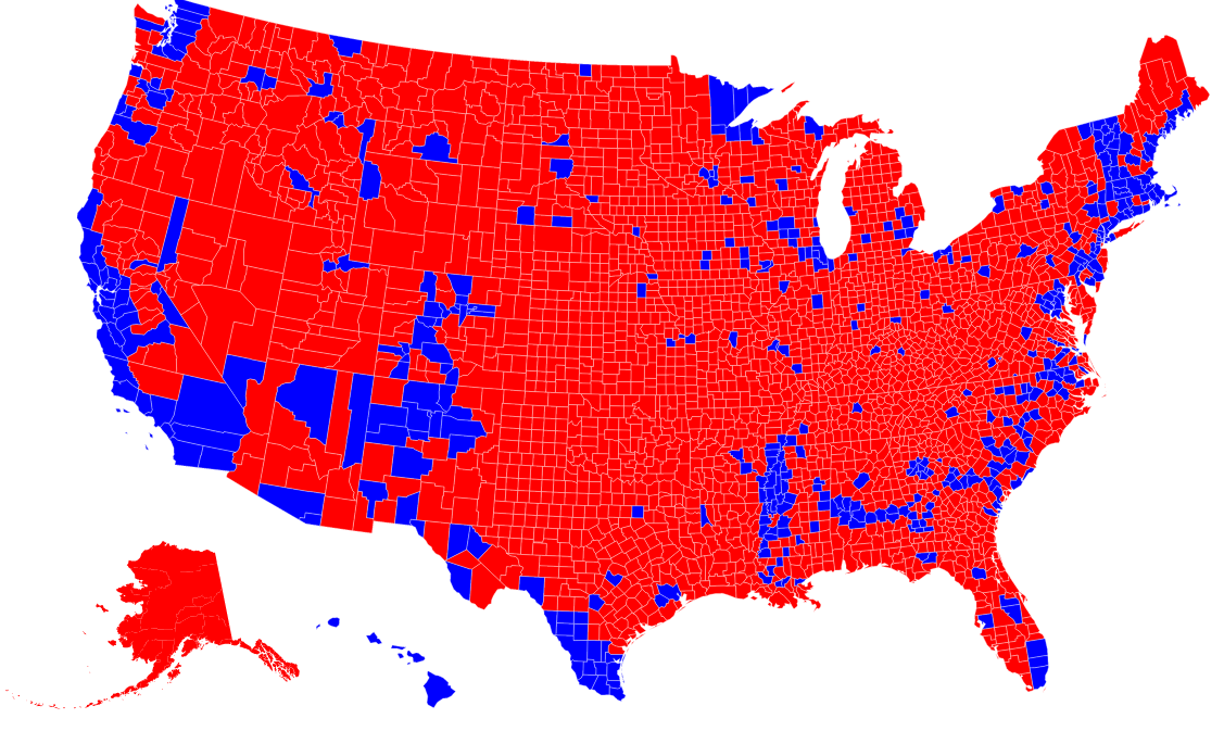 "Republican Democrat Map Republicans Are ""Clustered"" By County, Democrats Are ""Clustered  Republican Democrat Map"