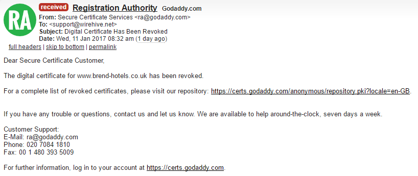 GoDaddy Revoked and then Un-Revoked a certificate without request