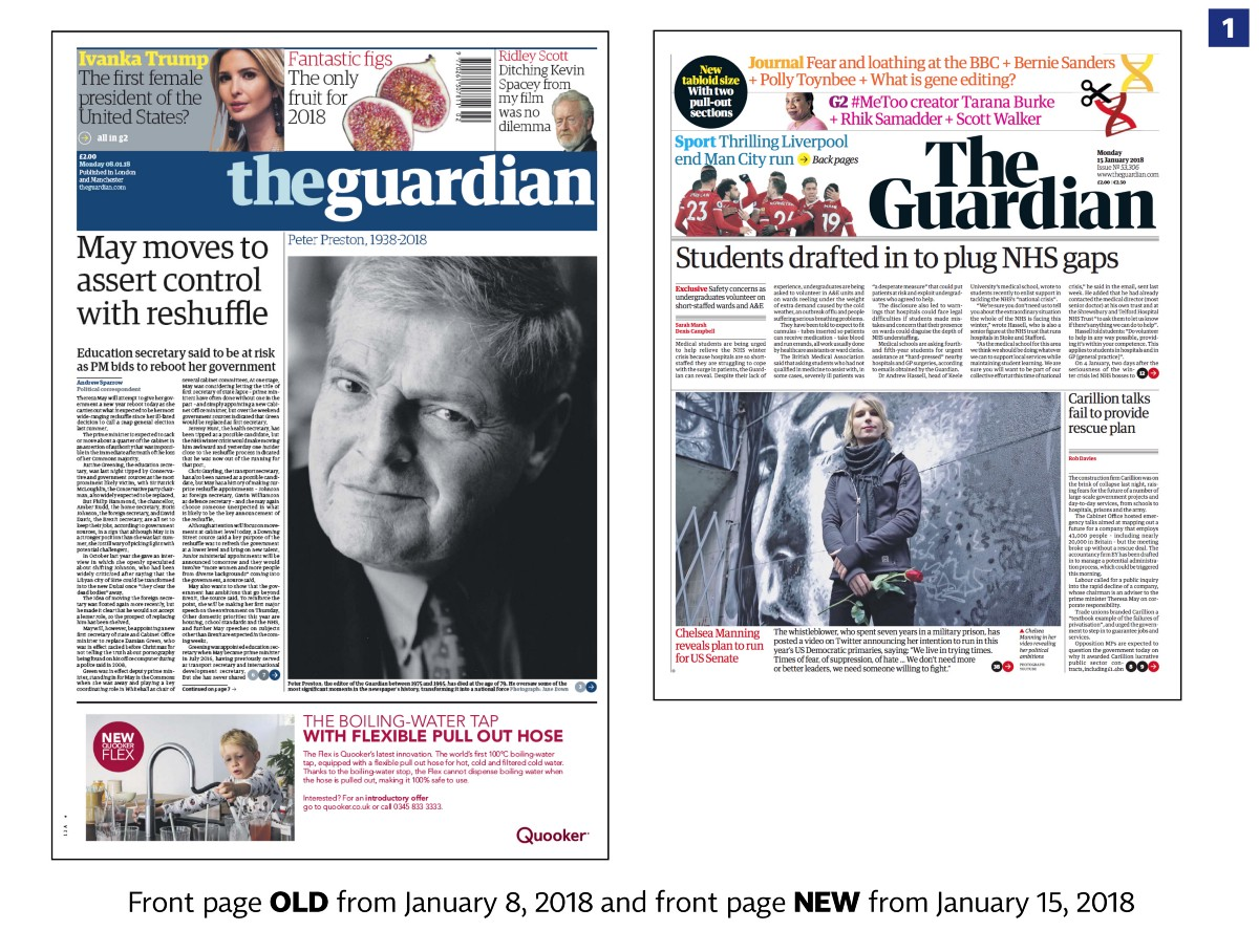 The Guardian with a new design in print, web and app