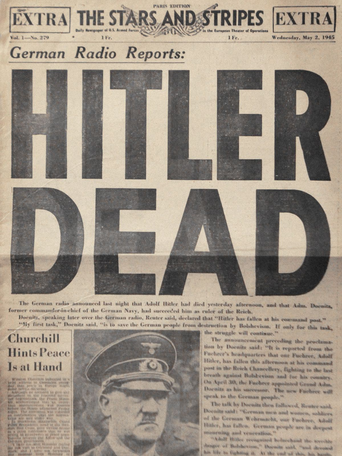 Hitler's death is reported in newspapers around the world.