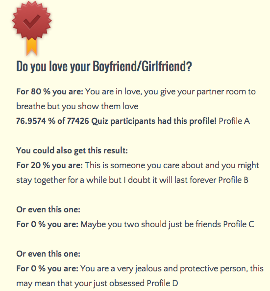 Quiz to know if you are in love
