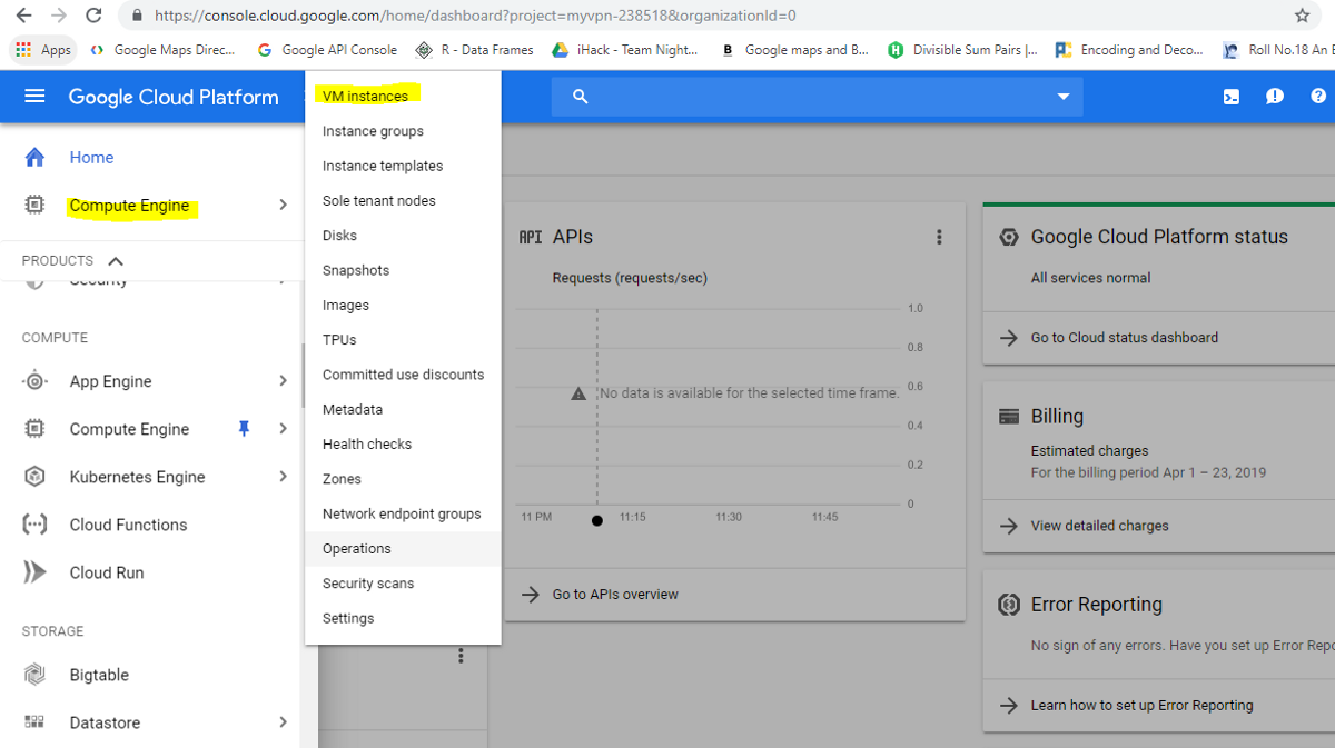 google cloud platform - compute engine - vm instance