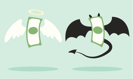 Image result for picture of good and evil in money animated