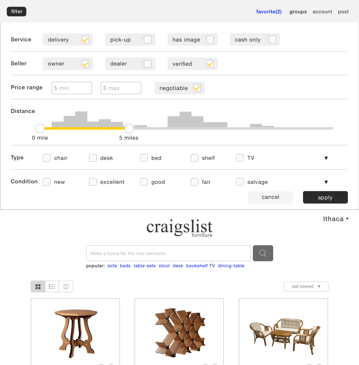 Search All Of Craigslist By Distance - Furniture page