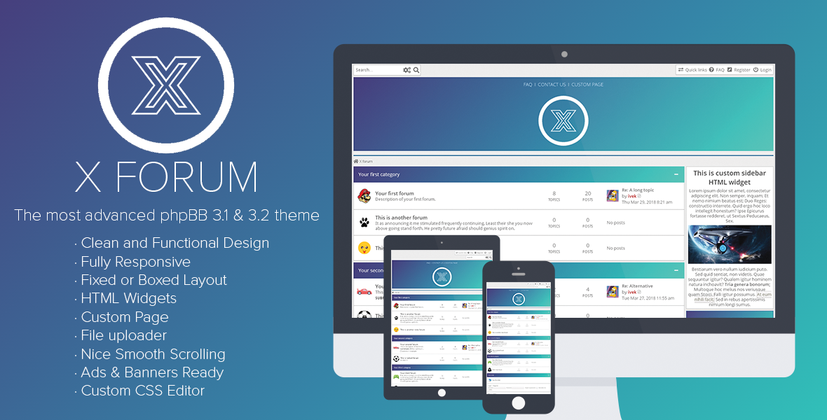 X Forum Is A Right Choice If You Are Looking For Clean And Functional Design With Lots Of Options It Fully Responsive Theme Style Phpbb 3 1