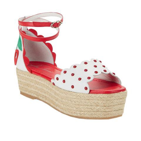 a678c3f22de4 Isa Tapia- Red  florence  Cherry Appliqué Leather Espadrille Flatform  Sandals. Harnessing the intrinsic allure of summertime ...