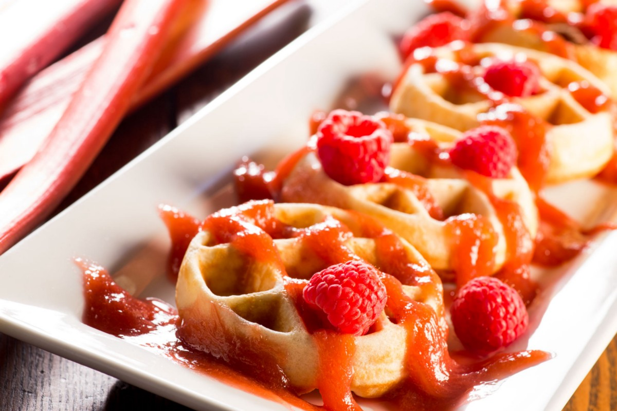 Waffles with raspberry rhubarb marmalade food channel medium forumfinder Image collections