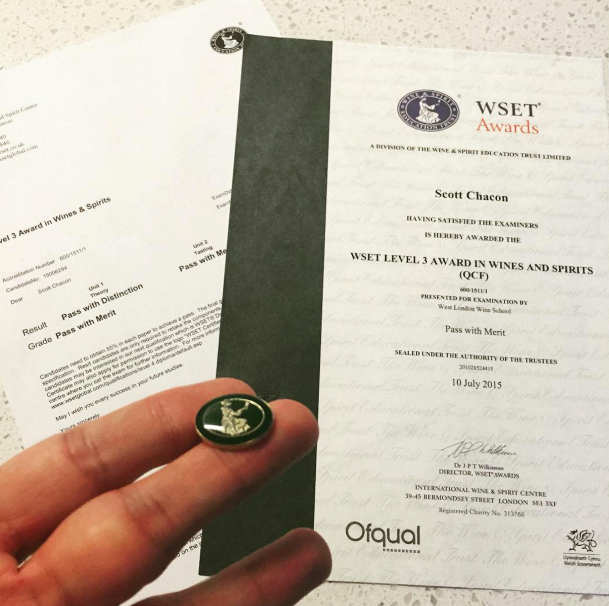 My WSET Level 3 certification and pin