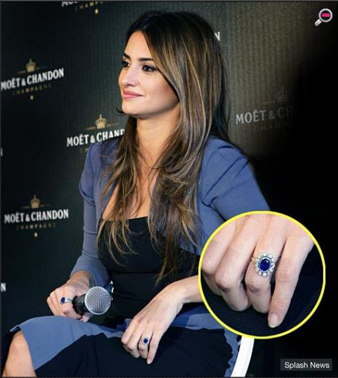 b2fd0de77 Penelope Cruz. Javier Bardem proposed to Spanish actress Penelope Cruz in  2010 with this vintage 3 Ct sapphire halo engagement ring.