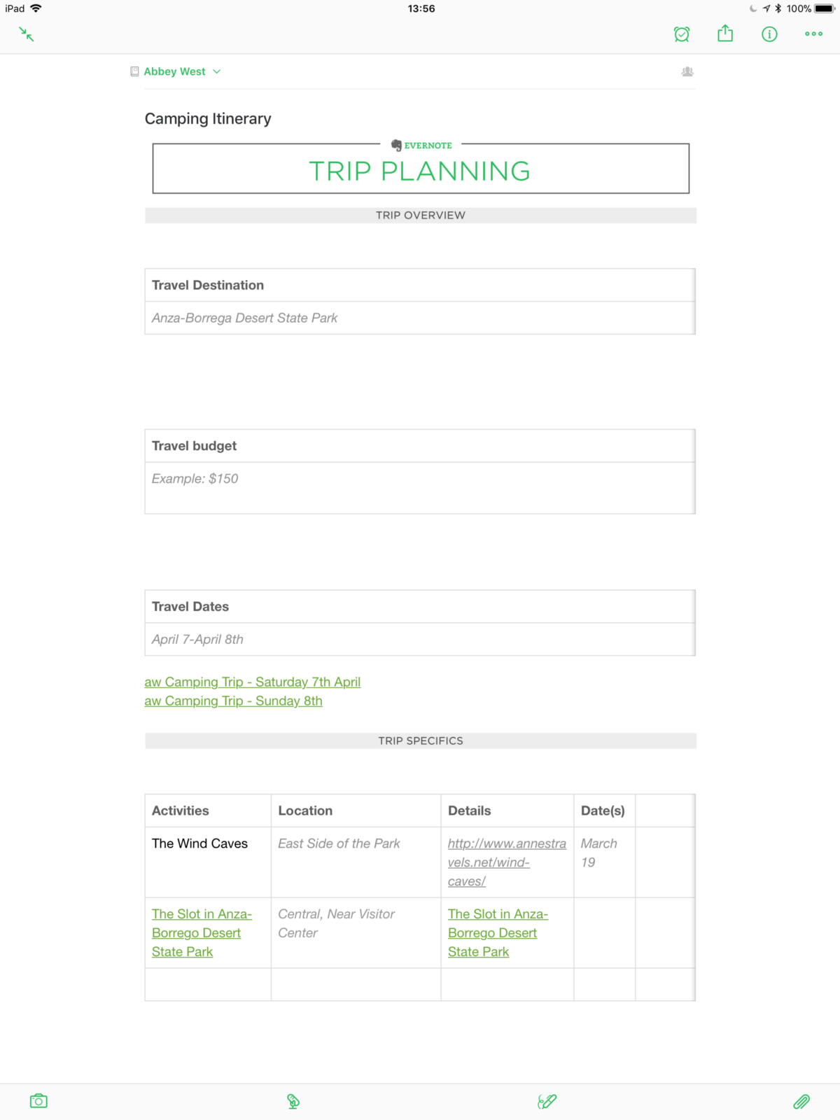 How i used evernote to plan a camping trip anthony for Evernote daily planner template