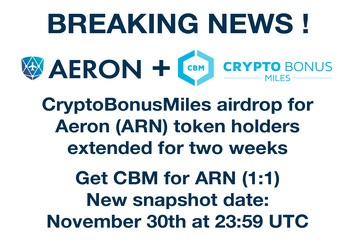 CryptoBonusMiles airdrop for Aeron (ARN) token holders and gleam.io giveaway extended for two weeks