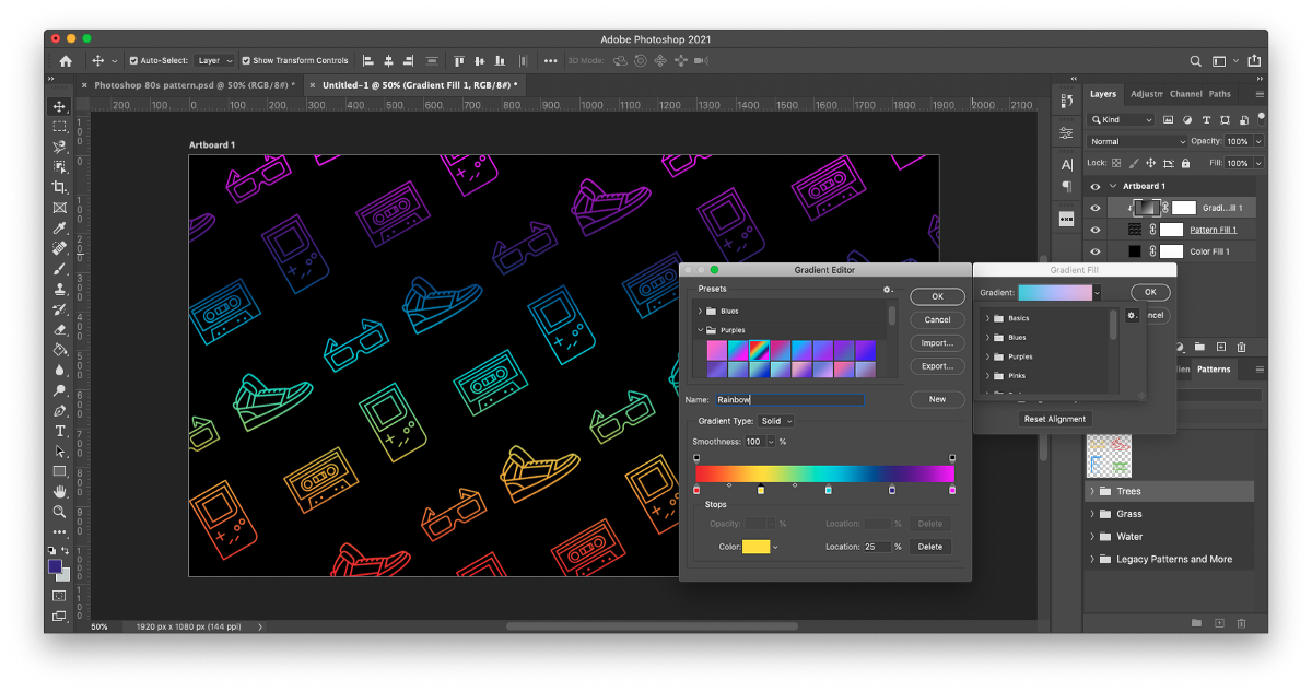 Make your repeating Photoshop pattern pop when you apply a custom gradient to the pattern. Adjust your gradient within the gradient editor and add or subtract as many color stops as you want.