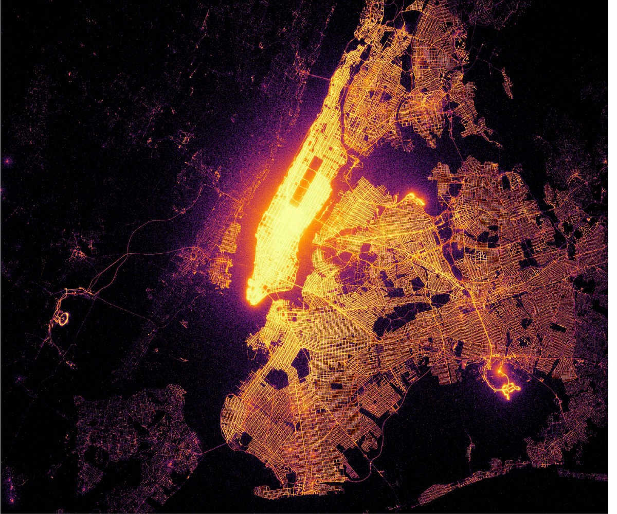 If taxi trips were fireflies: 1.3 billion NYC taxi trips plotted