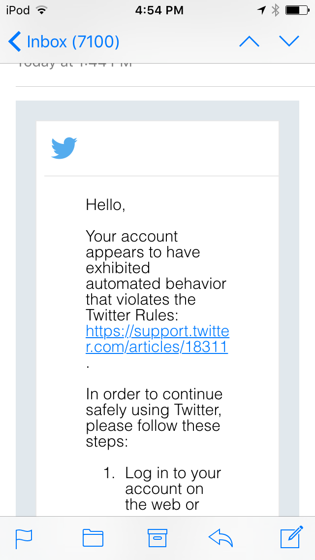 1c7bcf05da1b Email from Twitter on Wednesday explaining how to end the lock of my  account.
