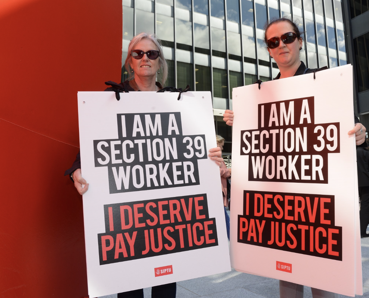 SIPTU will not allow Section 39 workers battle to pay justice to be ignored