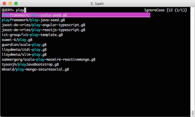 Search and create Scala project from giter8 templates using peco