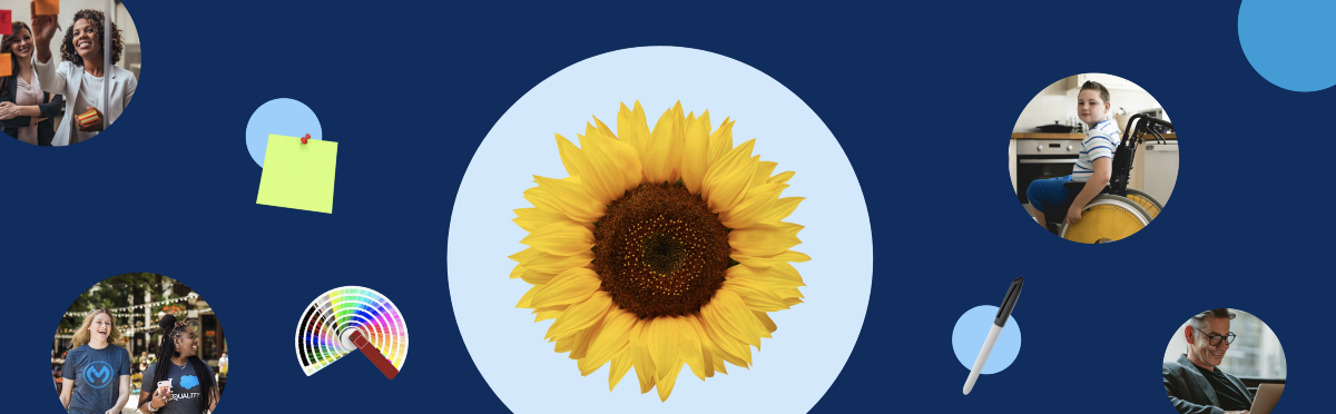 Banner of different sized blue circles with a large sunflower in the center, photos of diverse colleagues, and creative tools