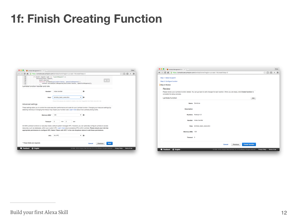 Step 1d: Finish Creating Lambda Function