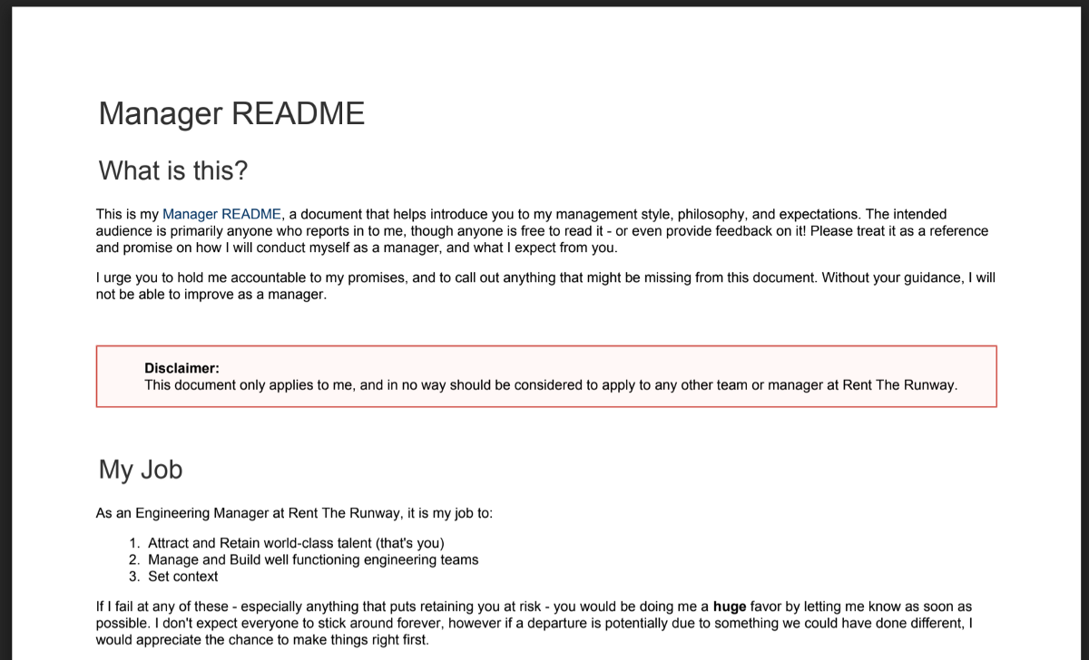 Manager README of Elliott Carlson, Manager at RentTheRunway