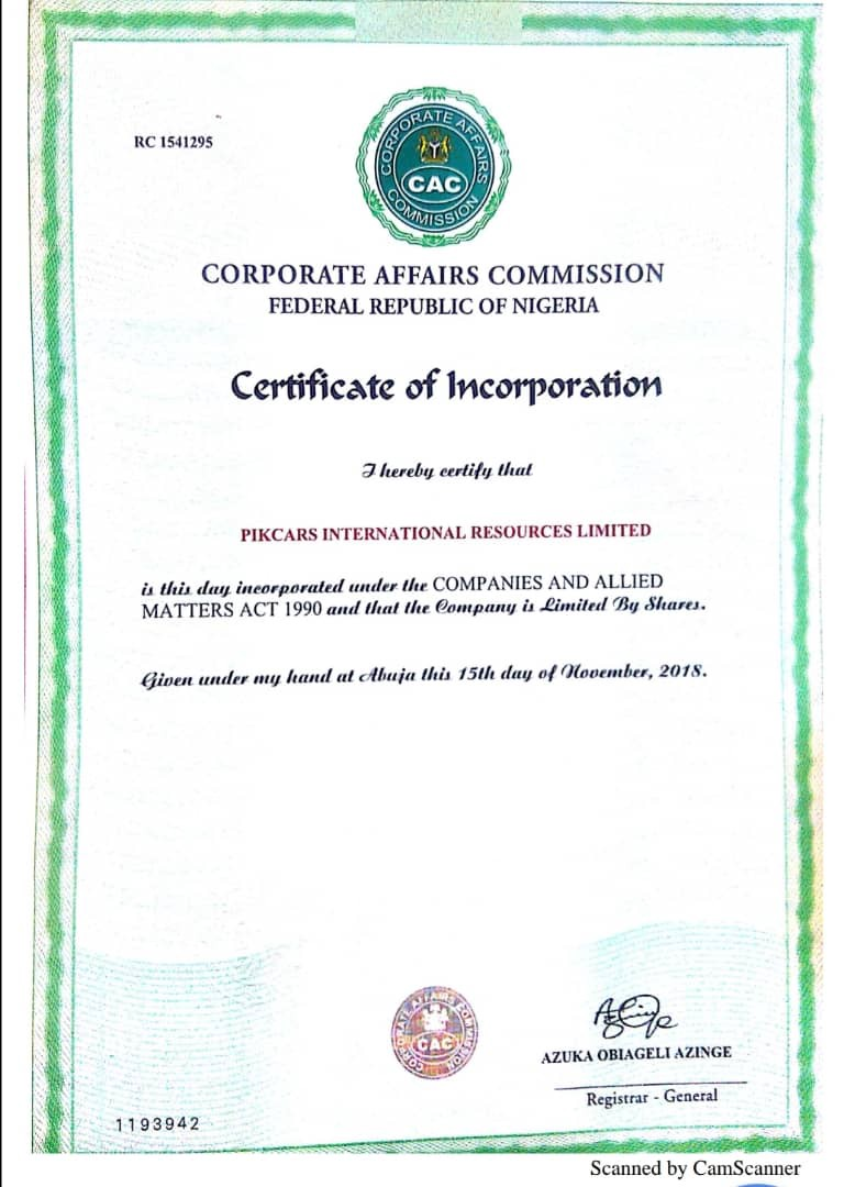 certificate incorporation thank