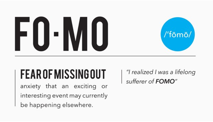 Fear Of Missing Out. Means that someone wants to get in when something is increasing in value very quickly.