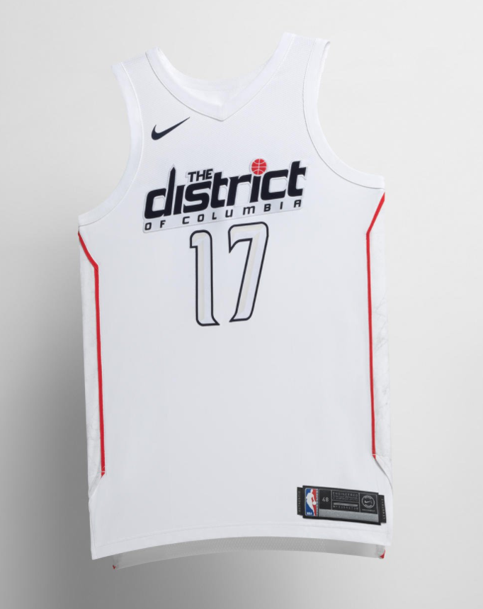 9c84737b5cf The DC family embraces their unofficial nickname with this white jersey. The  Wizards embrace their capital city mentality here and include the  Washington ...