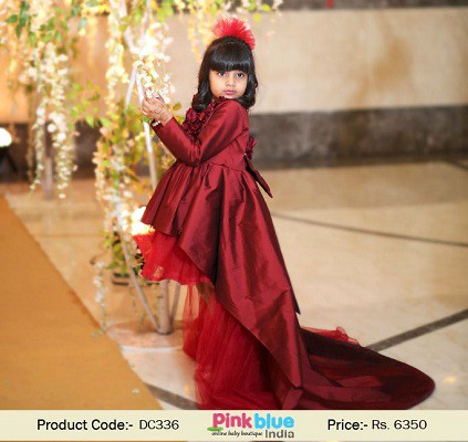 457c642887 Look gorgeous your little princess wearing this Hi-Low long flower girl  dress. This maroon taffeta floor length couture gown has a big bow on  backside and ...