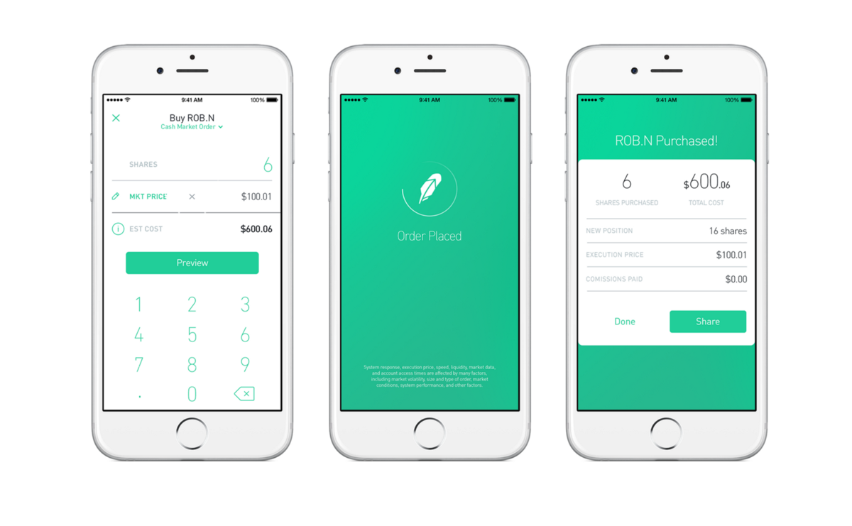 Robinhood options trading application