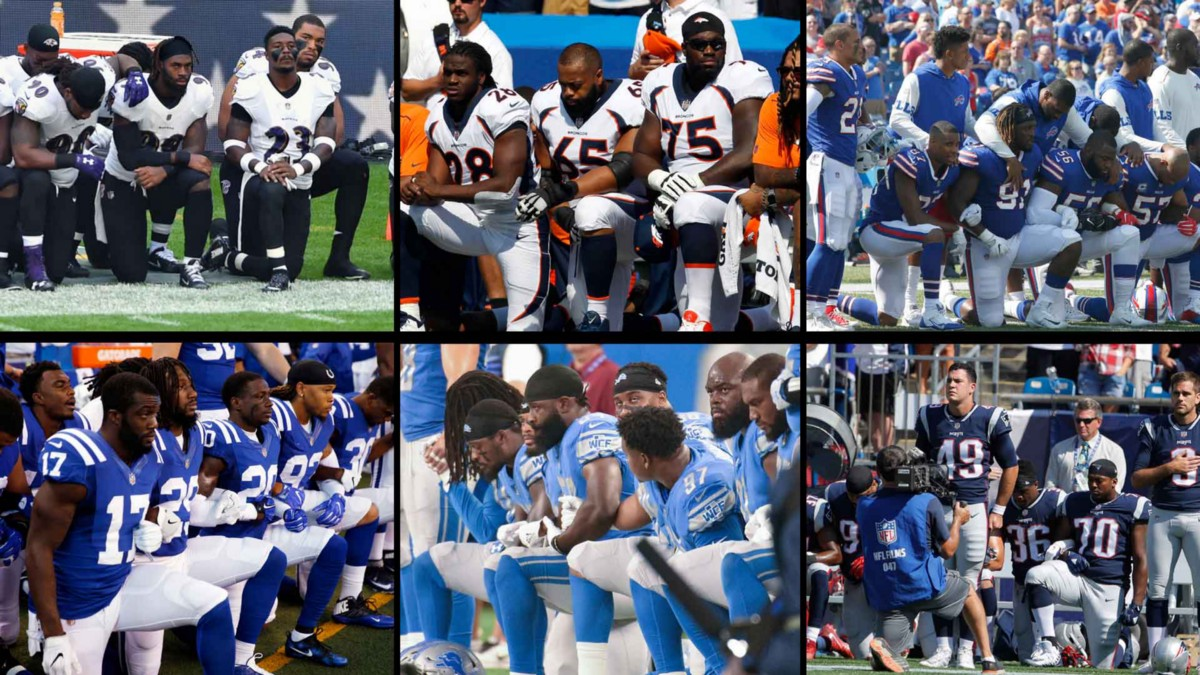 the play protests of the national football league players Many players, both black and white, knelt in protests when the music of the star spangled banner, the us national anthem, was broadcast before play began between the baltimore ravens and.