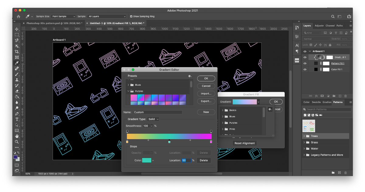 """Edit your repeating pattern in photoshop by trying out different color or gradient fills. Drag a fill layer above your pattern layer and select """"Create Clipping Mask"""" to apply its color to your pattern."""