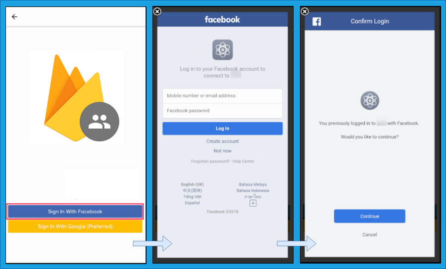 QnA VBage Firebase Auth using Facebook Log-In on Expo, React Native