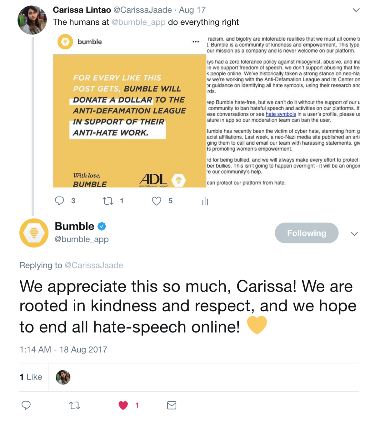 Bumble dating app twitter to see who looks