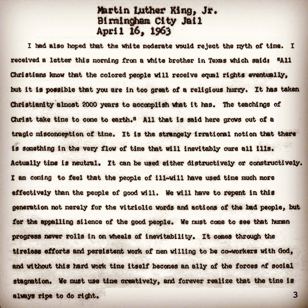 satire in letter from birmingham jail Friends of padre steve's world, not long ago i posted an article about dr martin luther king jr's letter from a birmingham jail i included the link to the letter in my article, but i realize that most people, unlike me we not follow a link to get to the original source of the information supplied.