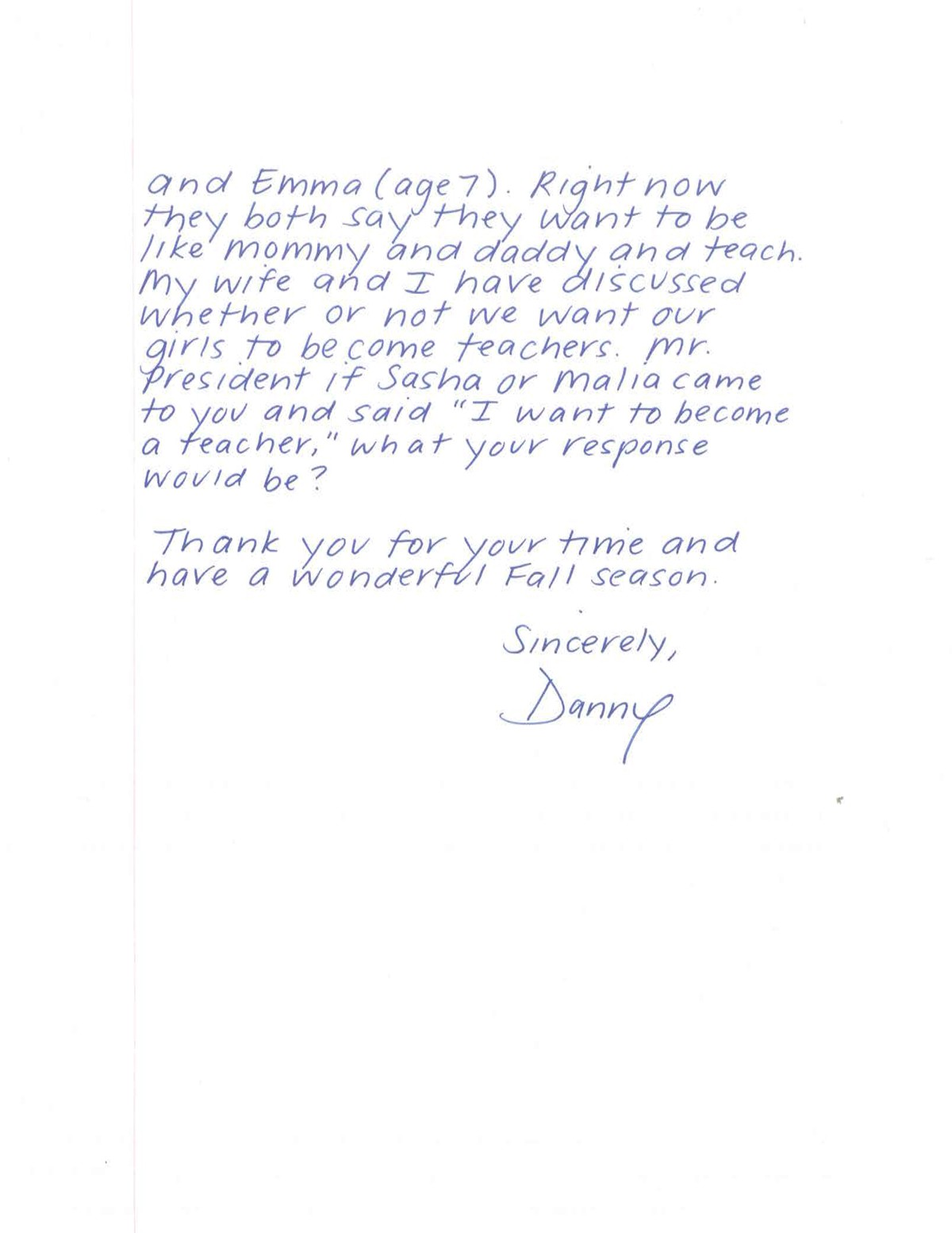 read dannys letter then watch what president obama had to say