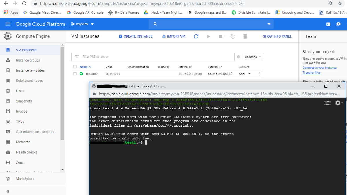 ssh connection to the vm instance in gcp