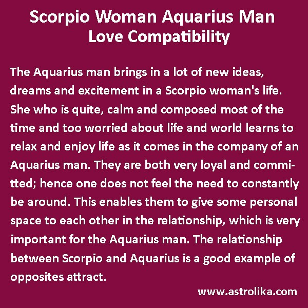 Scorpio woman in love with aquarius man
