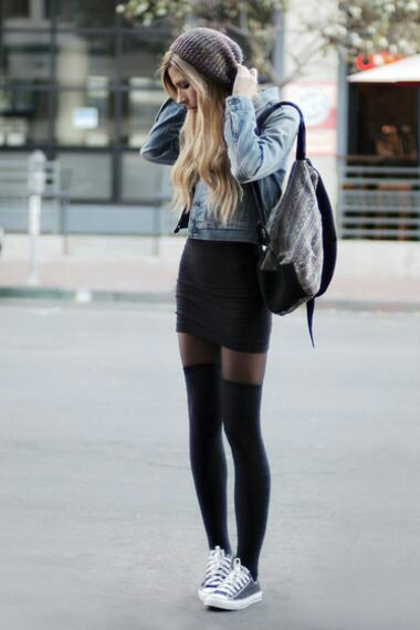 68d214bf664699 This fashion style of shorts dresses with knee high socks and CONVERSE  sneakers. This is a style that teens use