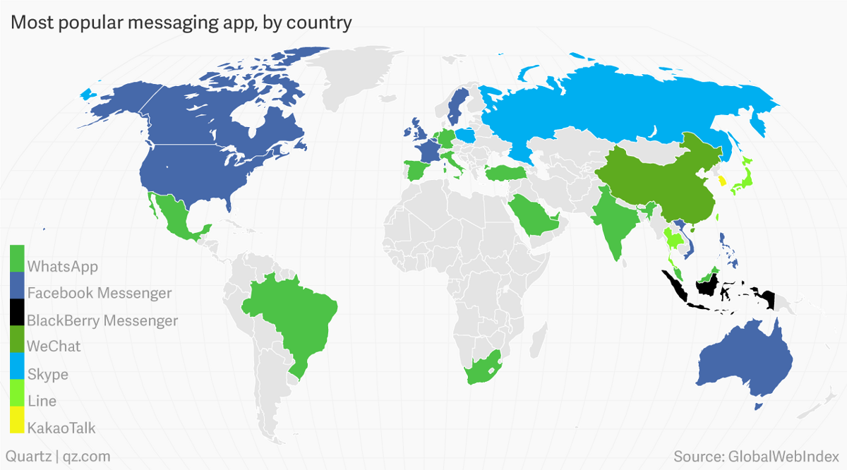 The messaging landscape in 2016 ben eidelson medium httpqz404239facebooks global dominance of messaging in two maps gumiabroncs Image collections