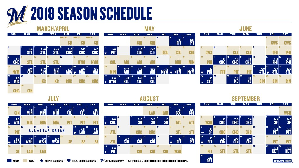 brewers announce 2018 season schedule cait covers the bases
