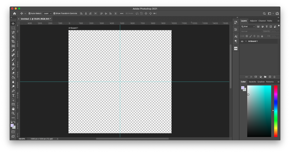Step 2 of how to make patterns in Photoshop: Click View rulers and create vertical and horizontal guides snapped to the center of the artboard to create four even quadrants to divide your canvas.