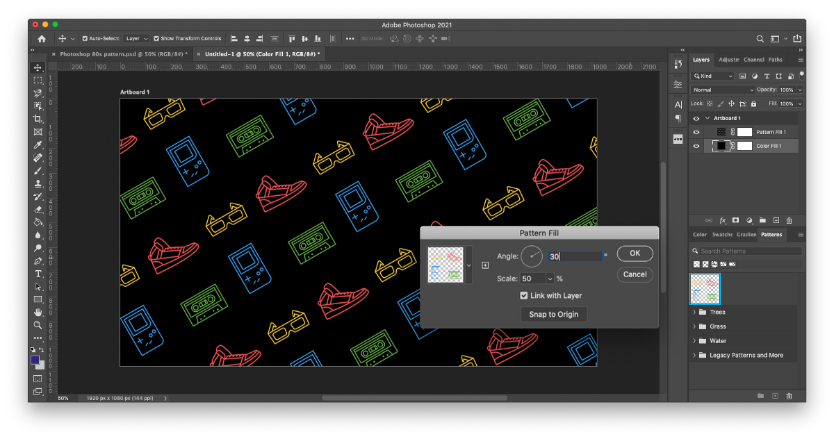 Step 10 of how to make patterns in Photoshop: Adjust the pattern in the Pattern Fill window by scaling it up or down and adjusting the angle.