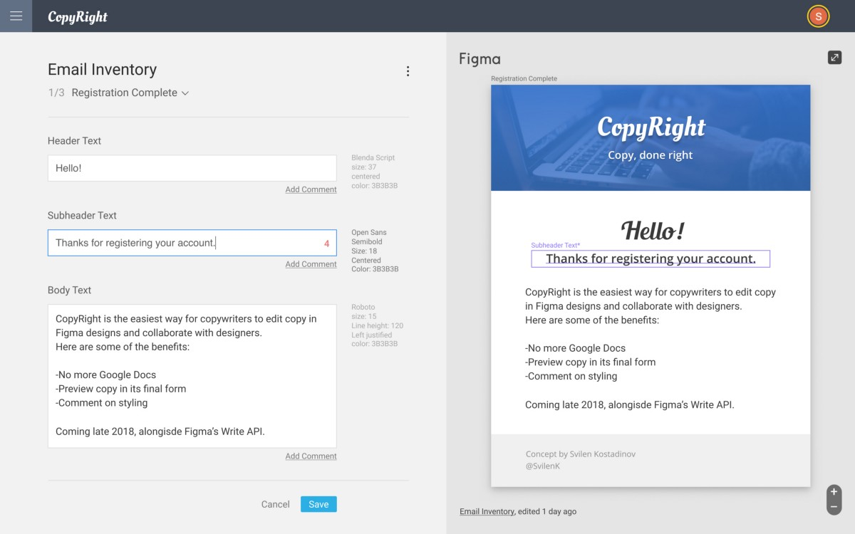 CopyRight- Copywriting Collaboration Concept for Figma's New API